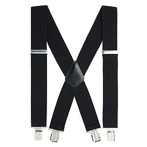 Suspenders for Men Heavy Duty, 2 Inch Wide X-Back Adjustable Elastic Clip Suspenders