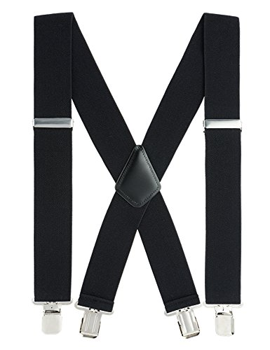 Suspenders for Men Heavy Duty, 2 Inch Wide X-Back Adjustable Elastic Clip Suspenders (Black) (Ribbon Stripe Strap)