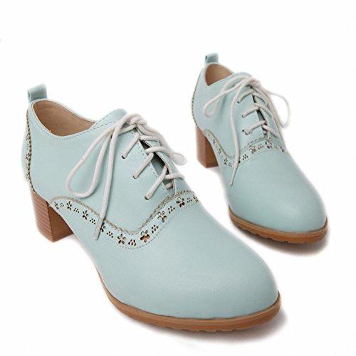 Carol Chaussures Femmes Mode Doux Lacets Mignon Décoratif Frontière Chunky Talon Moyen Oxfords Chaussures Bleu