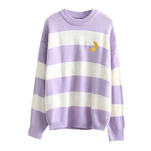 Packitcute Striped Knitted Sweater, Long Sleeve Moon Embroidery Cute Sweaters for Women (Light ()
