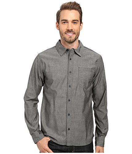 Smartwool Men's Summit County Chambray Long Sleeve Shirt Charcoal Button-up Shirt LG