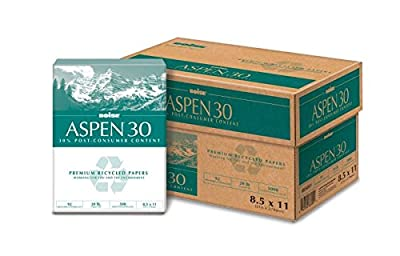 Aspen 30 3-Hole Punch 30% Recycled Copy Fax Laser Inkjet Printer Paper, 8 1/2 x 11 Inch Letter Size, Punched, 20 lb. Density, 92 Bright White, Acid Free, Ream, 500 Total Sheets (054901-P)