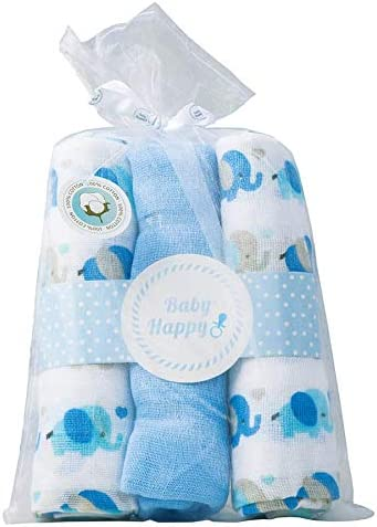 Muselina PACK 3 uds gasas para bebé 70 x 70 cm diseño Elefantito 100% algodón: Amazon.es: Bebé