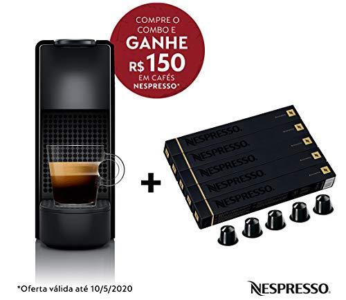 Cafeteira Nespresso Essenza Mini Preta 220V e Seleção Ristretto 50 cápsulas de café
