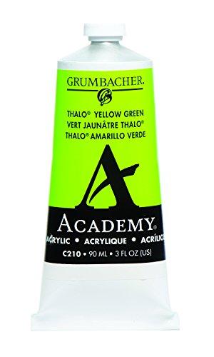Grumbacher Academy Acrylic Paint, 90ml/3 oz Metal Tube, Thalo Yellow Green
