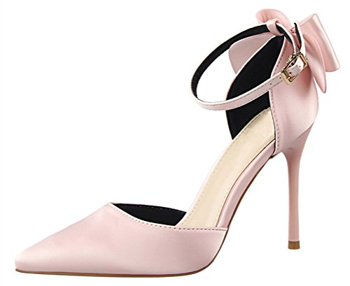 MMJULY Women's Pointed Toe Ankle Strap Bow Stiletto High Heel Satin Wedding Dress Pumps Pink US 11