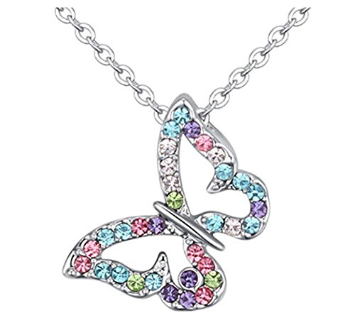 Kiokioa Silver Plated Butterfly Multi-color Crystal Charm Pendant Necklace (Colorful) -