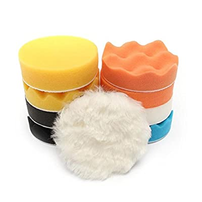 Cuque 11 Pcs Universal Polishing & Waxing Kit 1x Buffing Wheel 1x Drill Adapter 1x White Wool Pad 2x Black Sponge Pad 2x Orange Sponge Pad 2x Yellow Sponge Pad 1x White Sponge Pad 1x Blue Sponge(6