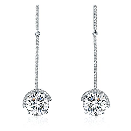 SBLING Platinum-Plated Drop Earrings Made with Swarovski Crystals (9 cttw)