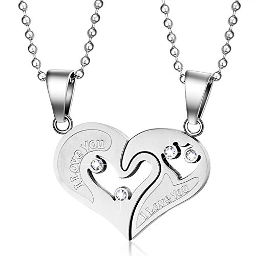 MMTTAO Stainless Steel Mens Womens Couple Pendant Necklace for His and Her Puzzle Love Heart CZ Cubic Zirconia Friendship Matching Set Promise Charms Pendant for Men Women, I Love You, 2Pcs(Steel)