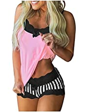 CofeeMO Women's Sexy Lingerie Sets 2 Piece Color Matching Shorts Tops Pajamas Halter Sleeveless Bow Printing Panty