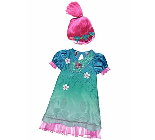 Troll Costume Uk (New George Dreamworks Trolls Poppy Fancy Dress Costume Outfit W/ Sound[7-8Y])