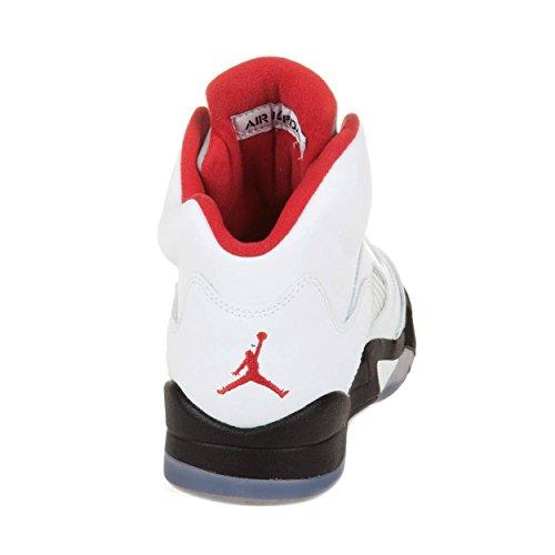 best service 8334b b3932 NIKE Kids Air Jordan 5 Retro 440888 100 White Fire Red Black Basketball  Sneaker (kids