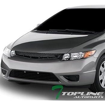Topline Autopart JDM Black T R Sport Mesh Front Hood Bumper Grill Grille  06 08 Civic 2D 2Dr Coupe