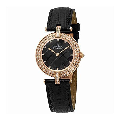 Charmex Las Vegas Crystal Black Dial Black Leather Ladies Watch 6392