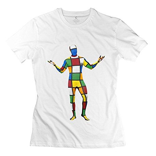 New Arrival Melting 3-D Rubik's Cube Mirror Women's T Shirt White Size XXL