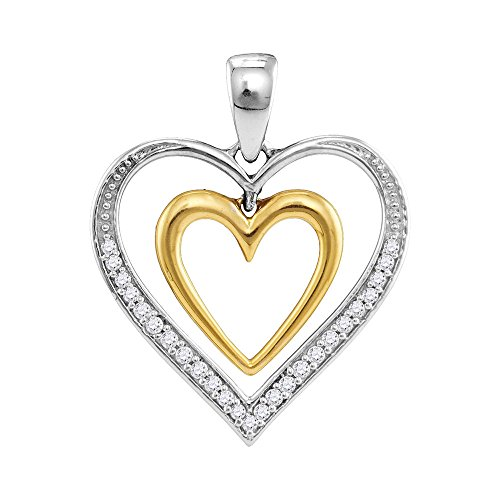 Two Tone Dangling Heart (Roy Rose Jewelry 10K Two-tone Gold Ladies Diamond Dangling Nested Heart Love Pendant 1/6 Carat tw)