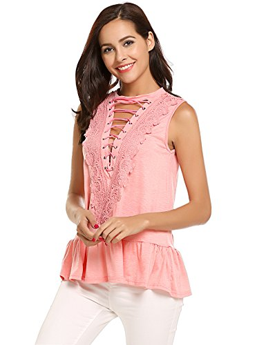 Women's Lace Splice Loose Trim Casual Blouse T-Shirt Tops Pink,S ()