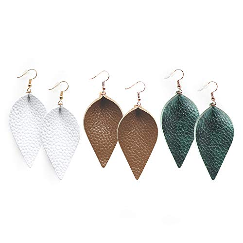 Style White Leather - Me&Hz Deep Green White Brown Leaf Leather Earrings Joanna Gaines Dangle Style Genuine Leather Drop Earrings, Pack of 3
