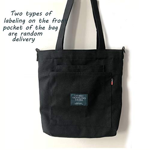 Crossbody Black Totes Women Tote and with Bags Canvas Zipper for Bag Men PxRqTOf