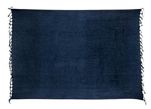 Premium Sarong Pareo Wickelrock Strandtuch Lunghi Dhoti Schlicht Blickdicht Blau