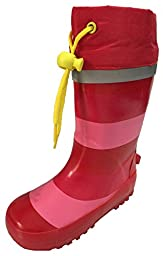 Toddler Girls Pink and Red Striped Rain Boot Snow Boot with Tie and Lining (10)