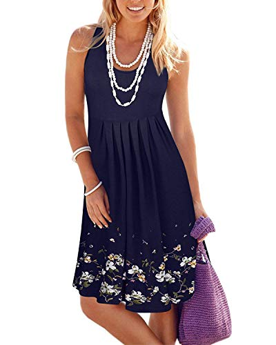 KILIG Summer Casual Loose Print Pleated Sleeveless Vest Dresses(Navy, M)