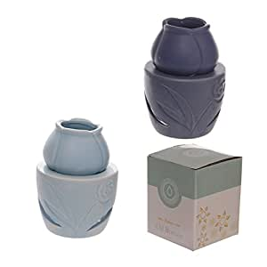 Shopforthehouse Ceramic Blue Tone Flower Head Oil Burner