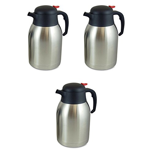 Genuine Joe GJO11956 Stainless Steel Everyday Double Wall Vacuum Insulated Carafe, 2L Capacity - 3 Packs by Genuine Joe