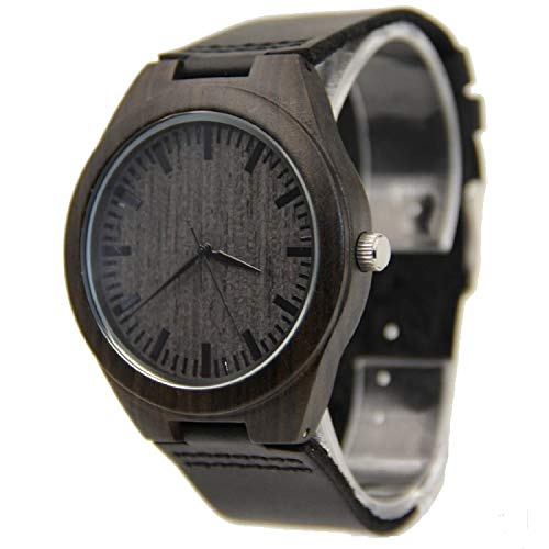 Mens Wooden Watch Black Leather Strap Analog Quartz Lightweight Handmade with Groomsman Gift WristWatches with Box
