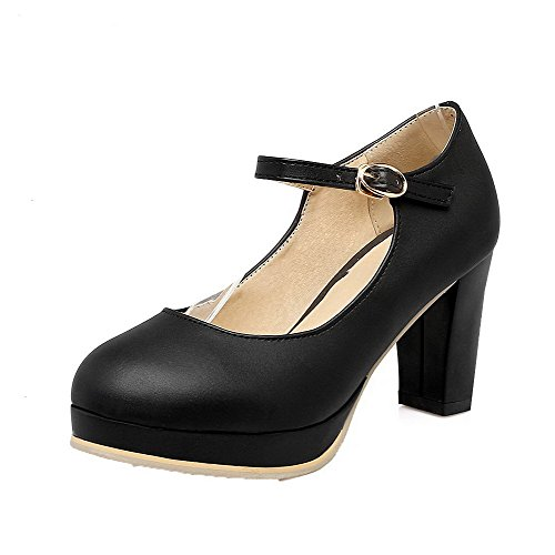 VogueZone009 Women's Buckle High-Heels PU Solid Closed Toe Pumps-Shoes Black iKJOej