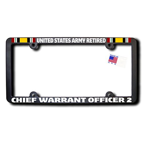 United States Army Retired CHIEF WARRANT OFFICER 2 License Frame w/Reflective Text & Iraq ()