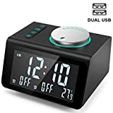 ANJANK Small Alarm Clock Radio with FM Radio,Dual USB Charging Ports,Temperature Display,Dual Alarms