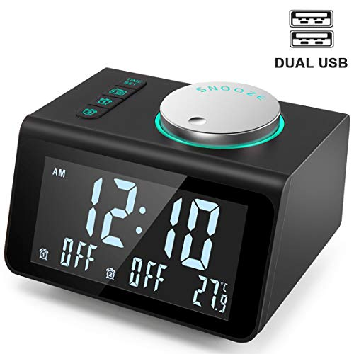 ANJANK Small Alarm Clock Radio - FM Radio,Dual USB Charging Ports,Temperature Display,Dual Alarms with 7 Alarm Sounds,5 Level Brightness Dimmer,Headphone Jack,Bedrooms Sleep Timer (Digital Labs Portable Tv)