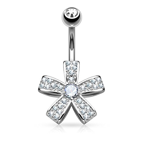 West Coast Jewelry {Silver}Micro Pave CZ Five Petal Flower with Round CZ Surgical Steel Navel Ring-14GA(Sold Ind.)