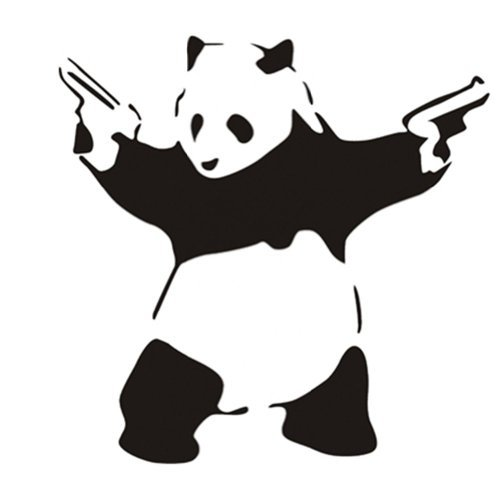 23.6'' X 45.3'' Large Cool Crazy Panda Gun Shooting Wall Stickers Decals DIY Removable Wall Mural Decor Graphic Lovely Silhouette Art for Baby Nursery Teen Girls Boys Kids Children Bedroom Living Room Decoration Olivia Black