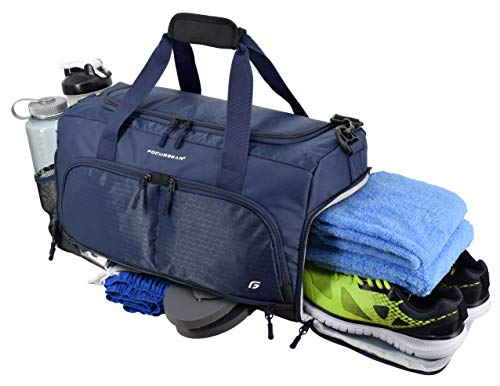 Ultimate Gym Bag 2.0: The Durable Crowdsource Designed Duffel Bag with 10 Optimal Compartments Including Water Resistant Pouch (Blue, Medium (20
