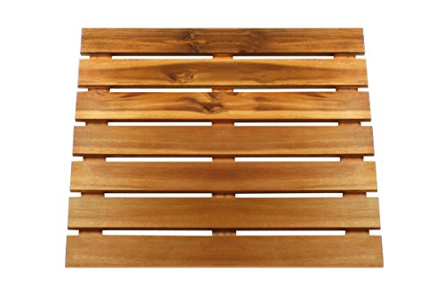 Thirteen Chefs Villa Acacia Premium Wooden Bath Mat and Outdoor Wood Shower Mat/Floor, Extra Large 24