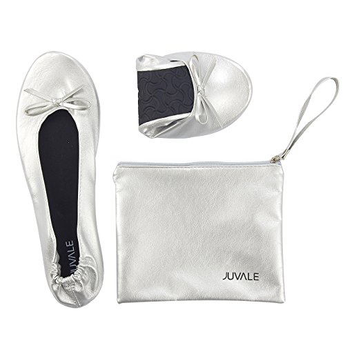 Juvale Foldable Ballet Flats - Small, US 4.5-5.5 Women's Portable Ballerina Roll up Shoes With Matching Carrying Pouch For Travel, - Flat Silver