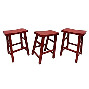 "eHemco 29"" Heavy Duty Saddle Seat Bar Stool in Red, Set of 3"
