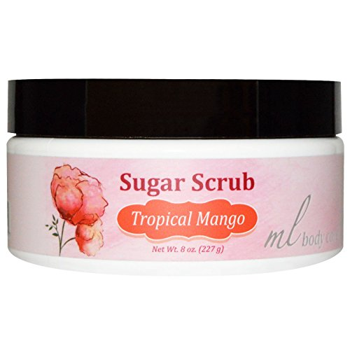 Madre Labs Sugar Scrub Tropical Mango Gentle Exfoliator with Argan Marula Oils Shea Butter 8 oz 227 g