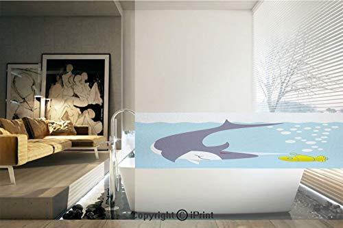 Decorative Privacy Window Film/Shark with Vessel in Ocean Bubbles Under Sea Theme Animals Cartoon/No-Glue Self Static Cling for Home Bedroom Bathroom Kitchen Office Decor Blue Gray Yellow