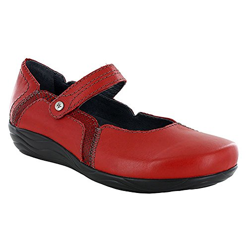 Wolky Women 1801 Gila Mary Jane Flats Red - Mighty/Dessin Suede r24EGz