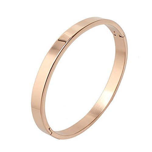 7th Element Polished Stainless Steel Bracelet Classical Band Bangle for Womens (Rose Gold,6mm 6.3inch)