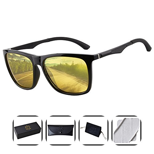Heptagram Unisex Wafarer Mg-Al Hot Retro Ultra Light Sunglasses for Driving Fishing Golf Outdoor (Black / Night - Women For Glasses Motorcycle