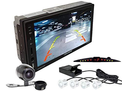 Multimidia Mp5 RS-505MP5 Com Câmera De Ré RS-121BR E Sensor De Estacionamento RS-204BR BRANCO