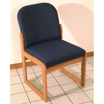 - DMD Office and Waiting Room Armless Guest Chair, Mahogany Wood with Wine Vinyl Upholstery