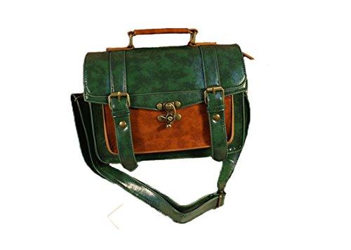Whoinshop da donna Vintage in pelle sintetica borsa valigetta Verde (verde)