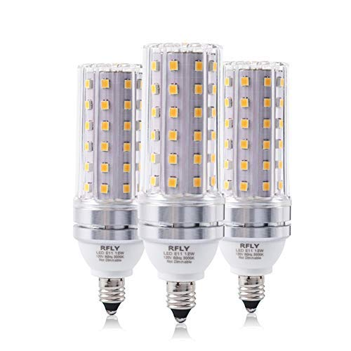 E11 LED Bulbs, 12W LED Candelabra Bulb 100 Watt Equivalent, 1200lm, Decorative Candle Non-Dimmable LED Chandelier Bulbs, Warm White 3000K LED Corn Lamp, Pack of 3