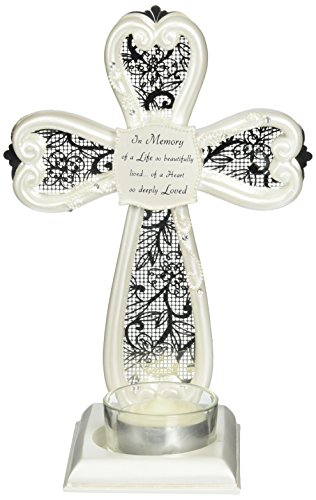 Little Things Mean A Lot In Memory Self Standing Cross Tea Light Holder, 7-Inch